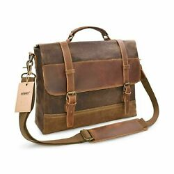 NEWHEY Mens Messenger Bag Waterproof Canvas Leather Computer Laptop Bag 15.6 Inc