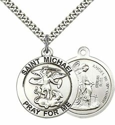 Sterling Silver St. Michael The Archangel Necklace 24 Inch Stainless Steel Chain