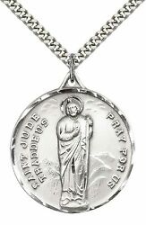 Sterling Silver St. Jude Pendant Necklace 24 Stainless Steel Heavy Curb Chain