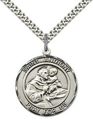 Sterling Silver St. Anthony Of Padua Pendant Necklace 24 Stainless Steel Chain
