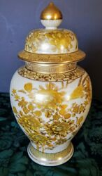 Japanese Early 20th C. Emperors Ginger Urn Lidded Cream/gray W-tons Of Gold Fine