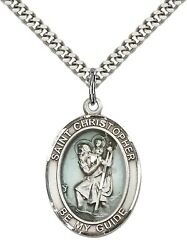 Sterling Silver St. Christopher Pendant Necklace 24 Stainless Steel Curb Chain
