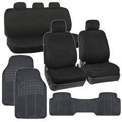 Carxs Black Seat Covers Complete Set + Heavy Duty All Weather Rubber Floor Mats