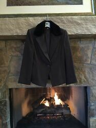 LINDA ALLARD ELLEN TRACY Mink Fur Collar Women's Brown Jacket Blazer Sz 8
