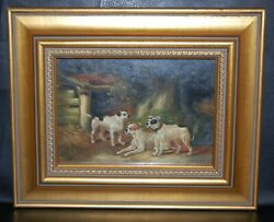 Small Oil on panel of Three Bulldog  Terrier type breeds unsigned 20th century