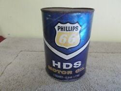 Vgt Phillips 66 Hds Motor Oil Empty Can Cardboard Gas Station Sign Purple