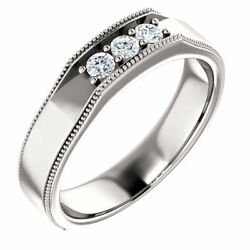 G-h Si2-si3 Diamond Menand039s Wedding Band In 14k White Gold 1/4 Ct. Tw.