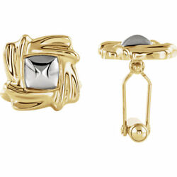 Cuff Links In 14k Yellow And White Gold