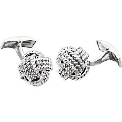 Knot Cuff Links In 14k White Gold