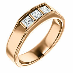 G-h Si2-si3 Diamond Menand039s Wedding Band In 14k Rose Gold 5/8 Ct. Tw.