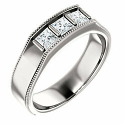 G-h Si2-si3 Diamond Menand039s Wedding Band In 14k White Gold 3/4 Ct. Tw.