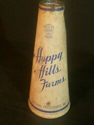 Happy Hills Farms Frostburg Md. Cardboard Drink Container 1 Qt Dairy Sealtight