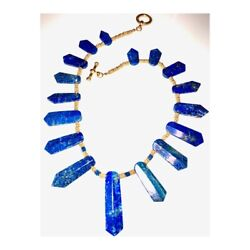 Natural Lapis Lazuli Egyptian Queen Of The Nile Toggle Necklace 22k Gold Finish