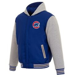 Mlb Chicago Cubs Hoodie Jh Design Two Tone Reversible Fleece Hooded Jacket