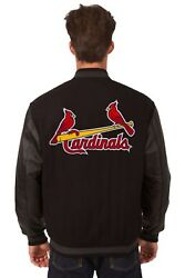 St. Louis Cardinals Wool And Leather Reversible Jacket With Embroidered Logos Blk