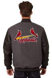 St. Louis Cardinals Wool And Leather Reversible Jacket With Embroidered Logos Gray