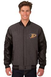 Nhl Anaheim Ducks Wool And Leather Reversible Jacket With Embroidered Logo