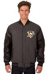 Nhl Pittsburgh Penguins Wool And Leather Reversible Jacket With Embroidered Logo