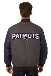 Nfl New England Patriots Wool Leather Reversible Jacket With Embroidered Logos