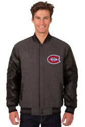 Nhl Montreal Canadiens Wool And Leather Reversible Jacket With Embroidered Logo