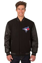 Toronto Blue Jays Wool And Leather Reversible Jacket With Two Front Logos Black