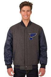 Nhl St Louis Blues Wool And Leather Reversible Jacket With Embroidered Logo Grey