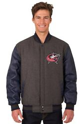 Nhl Columbus Blue Jackets Wool And Leather Reversible Jacket With Embroidered Logo