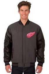 Nhl Detroit Red Wings Wool And Leather Reversible Jacket With Embroidered Logo