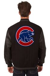 Mlb Chicago Cubs Wool And Leather Reversible Jacket With Embroidered Logos Black