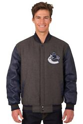Nhl Vancouver Canucks Wool And Leather Reversible Jacket With Embroidered Logo