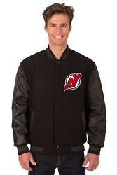 Nhl New Jersey Devils Wool And Leather Reversible Jacket With Embroidered Logo