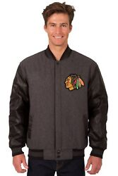 Nhl Chicago Blackhawks Wool And Leather Reversible Jacket With Embroidered Logo