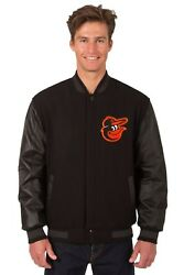 Baltimore Orioles Wool And Leather Reversible Jacket With Two Front Logos Black