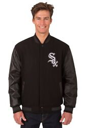 Chicago White Sox Wool And Leather Reversible Jacket With Two Front Logos Black