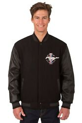 Ford Mustang Wool And Leather Reversible Jacket With Embroidered Emblems Jh Design