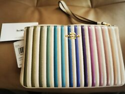 NWT Coach Leather Wristlet Bag Wallet Pouch Rainbow Ombre Quilting 92283 Phone $59.95