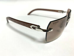 CARTIER C DECOR ENGRAVED DBL C BUBINGA WOOD SUNGLASSES NEW 100% GENUINE