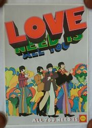 Beatles 69 Yellow Sub All You Need Is Love Shell Oil Company Promo Poster Orig