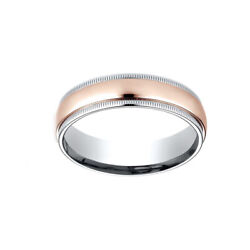 Comfort-fit Polished Carved Milgrain Wedding Menand039s Band Ring 14k Two-toned 6mm