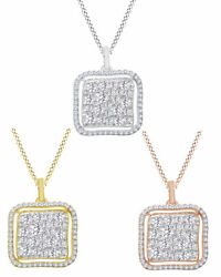 3/5 Ct Round Cut Natural Diamond Cushion Cluster Pendant Necklace In 14k Gold