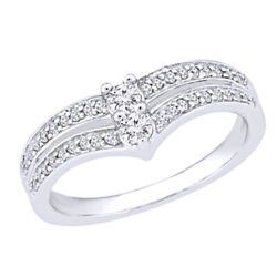 1/3 Ctw Round Natural Diamond Cluster Band Ring 10k White Gold