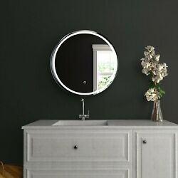 24 Inch Round Shelf Led Lighted Mirror Touch Switch Defogger Cct Remembrance