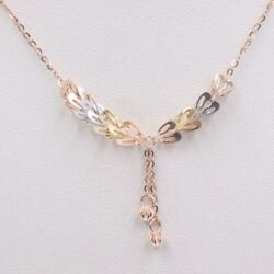 Solid 18k Rose Gold Necklace Feather Pendant With O Link Chain Necklace 17.7inch