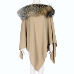 Thomas Wylde Luxurious Pure Cashmere Fur Trimmed Poncho