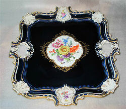 Meissen Porcelain Tray Cobalt And Gold Rococo Embossed Relief Hand Painted.