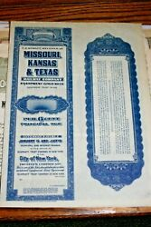 S97vintage Gold Bond Railroad-missouriks And Tx Rw Co.w Coupons 1920