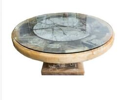 Contemporary Aztec Carved Stone Round Coffee Low Table Pick-up Only Ct