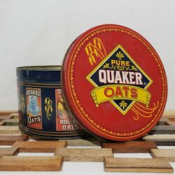 Vintage 1983 Limited Edition Quaker Oats Collector Tin Round Canister Cookie