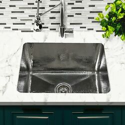 23 Inch X 18 Inch Hammered Stainless Rectangle Undermount Laundry Sink 12 Inches
