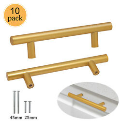 10pack Gold Kitchen Cabinet Pulls T Bar Stainless Steel Bedroom Drawer Handles